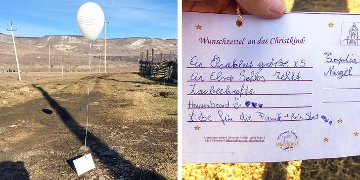 Une jeune fille a écrit une liste de souhaits et l'a attachée à un ballon qui a volé pendant des kilomètres, jusqu'à ce qu'il soit reçu et que les souhaits soient exaucés par un inconnu d'un autre pays